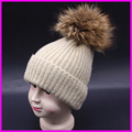 2016 Kids Winter Real Raccoon Fur Hats Girls Boys Wool Stripe Knit Beanie Hat Mink Fur Cap For Children