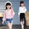 Весной 2017 New Kids Девушки цвет шифон воротник рубашки V семь солнцезащитный крем рукав рубашки дети досуг куртка