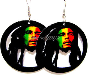 Самые популярные деревянные серьги Bob Marley