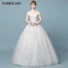 クリスタルボートネックレースアップリケ夜会服のウェディングドレス真珠タッセル半袖バックレスブライダルドレス VAMOLASC