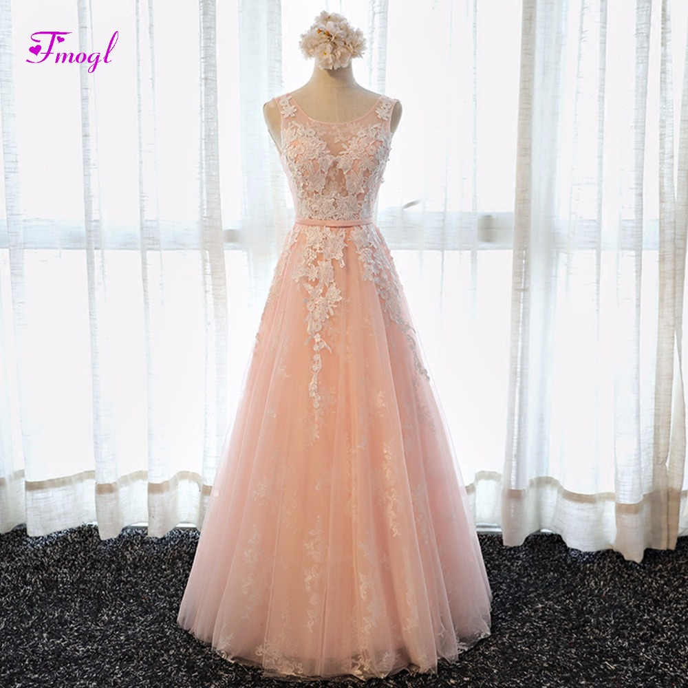 Fmogl Glamorous Appliques Pink Princess   Prom     Dresses   2019 Fashion Scoop Neck Lace Up Formal Party Gown Robe De Soiree Plus Size
