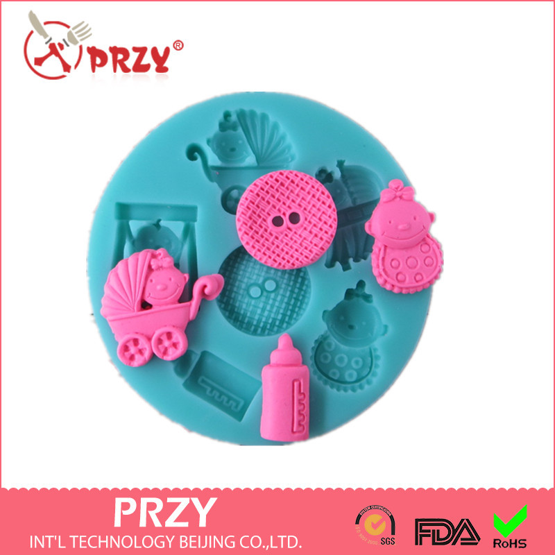 US $4 49 25% OFF|Baby stroller bottles fondant decorationg tools  molds,silicone mold soap,candy molds,sugar craft tools,chocolate  mold,bakeware-in