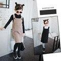 Nova Chegada 2016 Vestido de Camisola Menina Moda Vestidos de Colete de Lã Grossa Outono e Inverno Blusas de Malha Roupas para Crianças