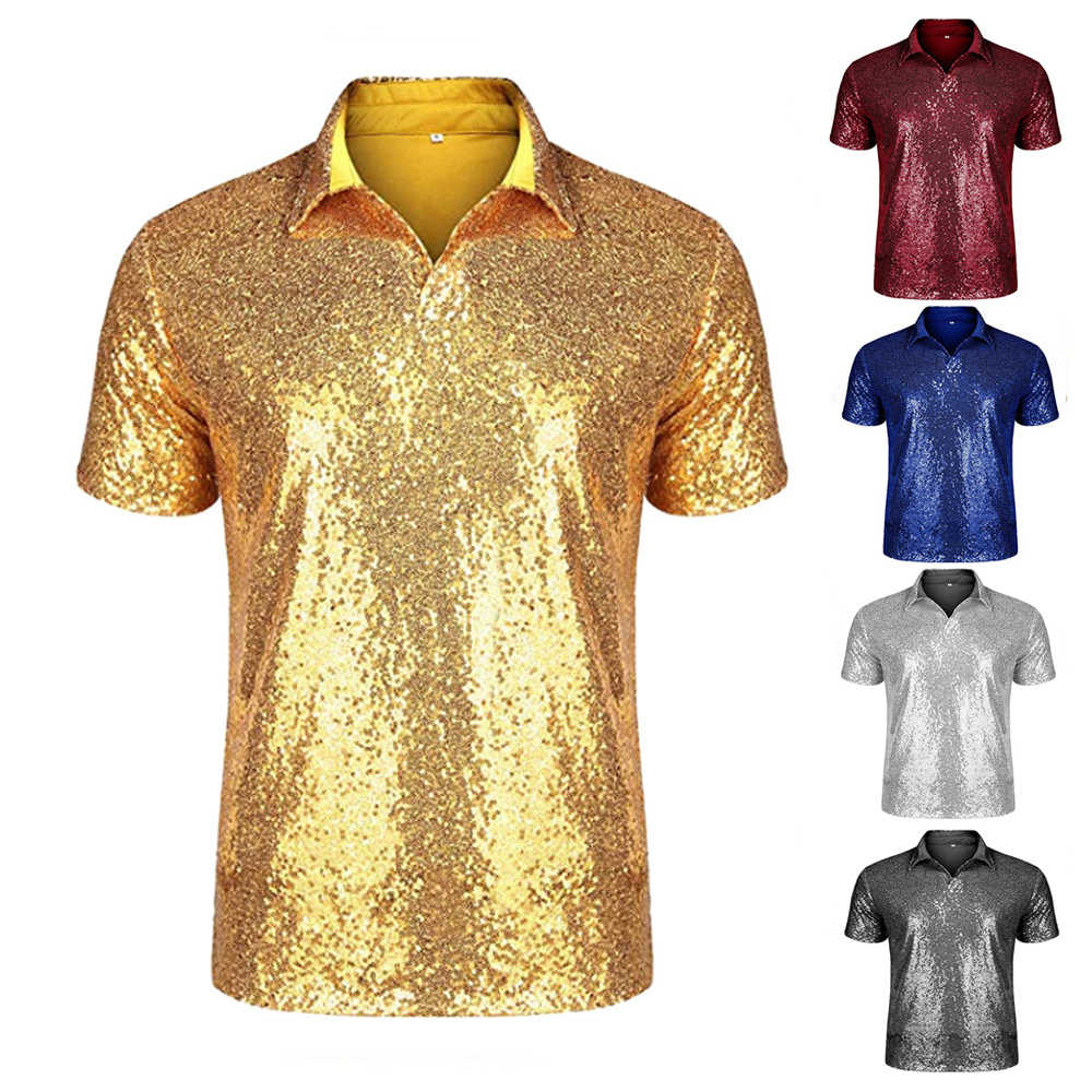 Nightclub Sequin T-shirt top for Men Sequin polo shirt 70s Disco Party Cosplay Costume Adult men Carnival cosplay T-shirt