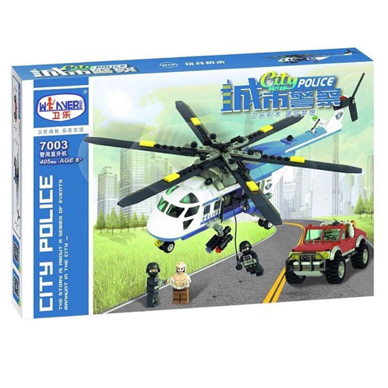 Winner 405pcs City Police  Series Building Blocks Toy Helicopter Police Bricks Education Toys For Children Gifts city series police car motorcycle building blocks policeman models toys for children boy gifts compatible with legoeinglys 26014