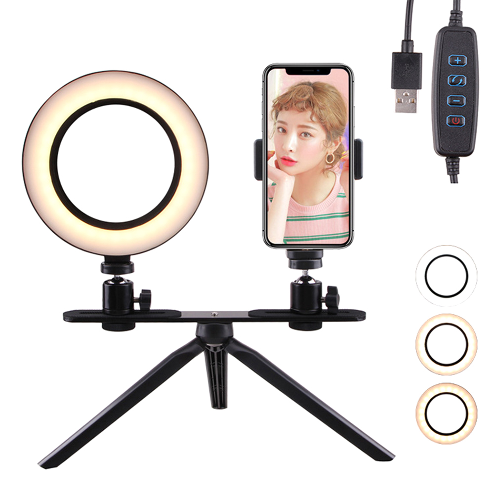 Photography LED makeup mirror Selfie Light 160MM Dimmable Camera Phone make up Lamp flexible with Table Tripods for Anchors Live
