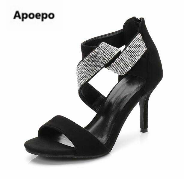 Newest White Crystal High heel Sandals Woman Sexy Open Toe Cross-strap sandals Black Suede Thin Heels Gladiator Sandal top selling 2017 summer sexy women solid black open toe cross lace up gladiator cuts out thin heels high heel sandals party shoe