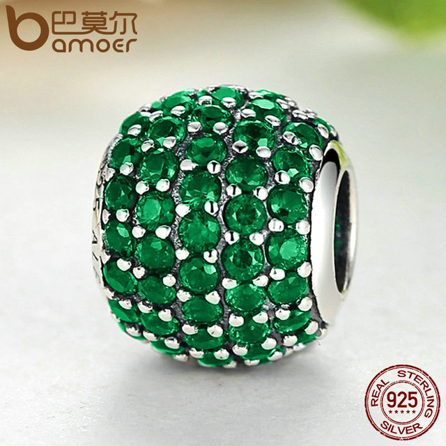 Sterling Silver Pink & Green Clearly CZ Beads Charm
