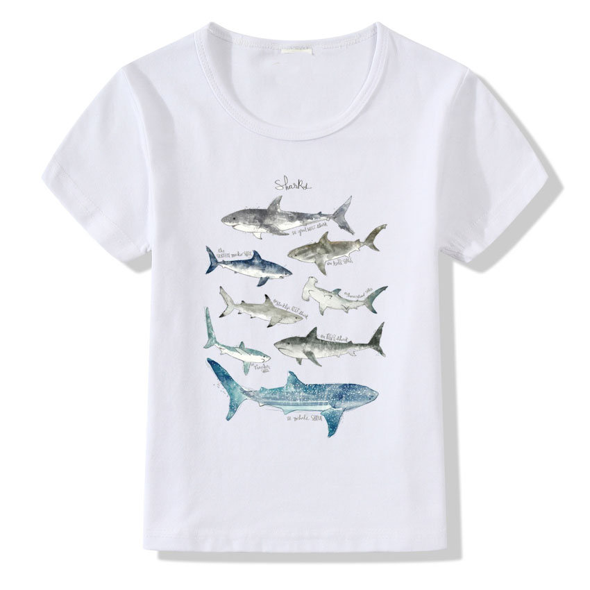 Summer Tops Boy 2018 Fashion Shark Printed T shirt for Child Harajuku Whale Design Short Sleeve Tops Baby Girls Summer T-shirt wa05875ba fashion designer brands luxury men t shirt 2018 summer famous design t shirt men brand clothing fashion tee tops