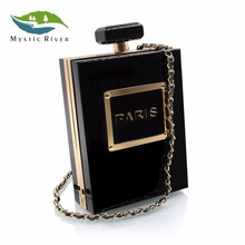 Mystic River Women Clutch Bags Perfume Bottle Chain Bag Black Paris Acrylic Clutch Purses Ladies Evening Bags