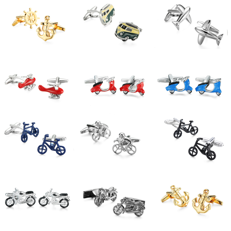 French fashion brand shirts Cufflinks transportation series / Bike / motorcycle / bus / plane cufflinks, 1 double free delivery free shipping high quality men s shirt cufflinks plane anchor bike car motorcycle transportation automobile cufflinks