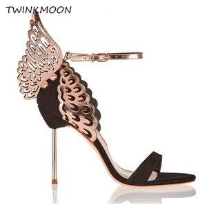 Image 2 - נשים high end ורוד פרפר סנדלי מתכת פגיון העקב מתכתי מגזרות משאבות בלינג בלינג קריסטל סלבריטאים חתונה נעליים