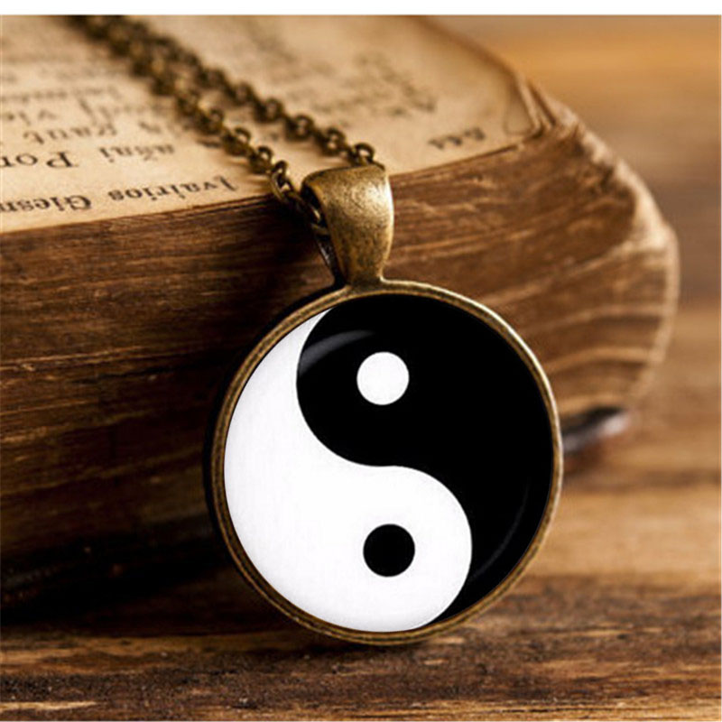 Yin Yang Tai Chi Pendant Necklace Art Glass Cabochon Vintage…