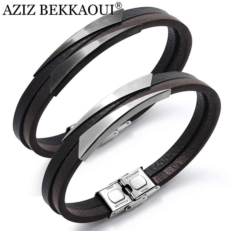 AZIZ BEKKAOUI New Men Bracelets Black Punk Leather Bracelets Unique Shape Stainless Steel Bracelet Male Bangle