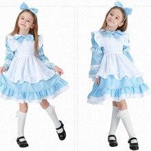 Дети девочки синий розовый черный Алиса в стране чудес карнавальный костюм Хэллоуина Лолита косплей-костюм горничной