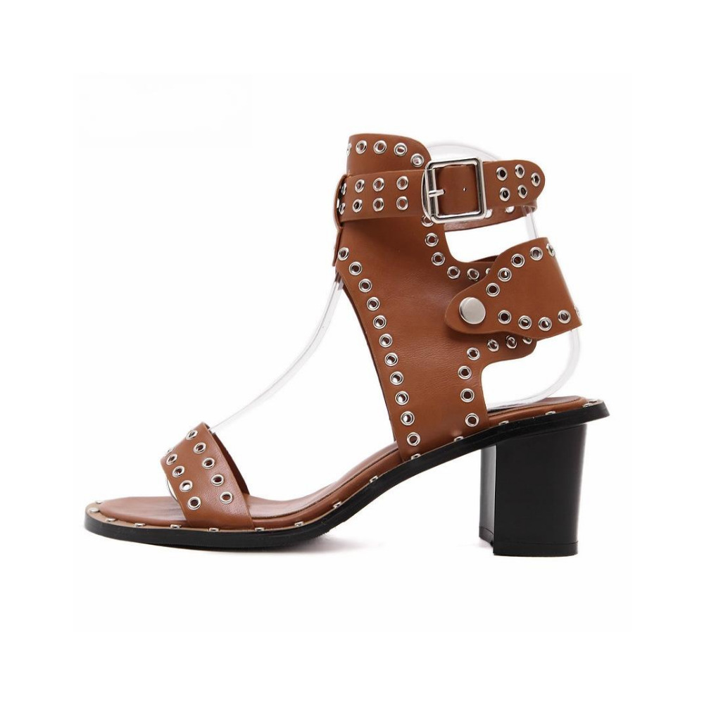 где купить Rome Style Women Black Brown Punk Styke Studded Hollow Out Sandals Summer Fashion Metal Buckle Strap High Square Heel Shoes дешево
