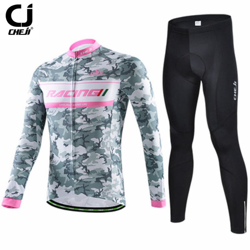 CHEJI Men's Cycling Jersey Sets Gray camouflage Long Sleeve Bike Clothing  Bicycle Team Outdoor Ropa Ciclismo mtb Sportswear  cheji team mens bike clothing set ropa ciclismo mtb bike bicycle cycling long sleeve jersey