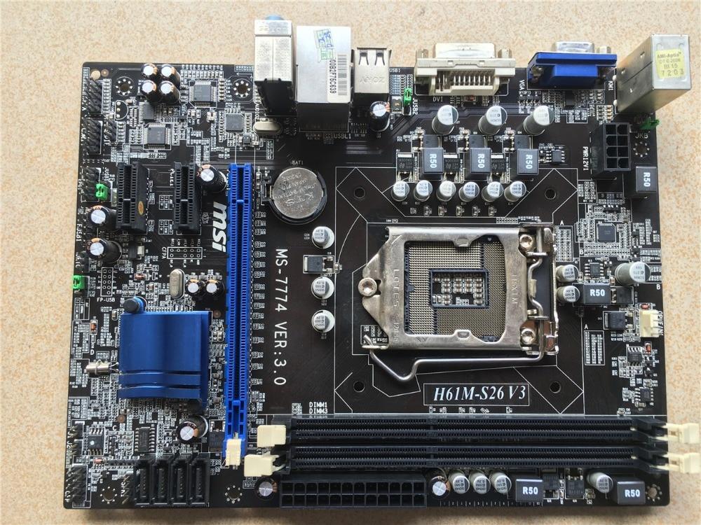 Used Original for MSI H61M-S26 V3 Motherboard 1155 DDR3 Support 22nm CPU for Intel H61 Micro ATX Motherboard rear wheel hub for mazda 3 bk 2003 2008 bbm2 26 15xa bbm2 26 15xb bp4k 26 15xa bp4k 26 15xb bp4k 26 15xc bp4k 26 15xd