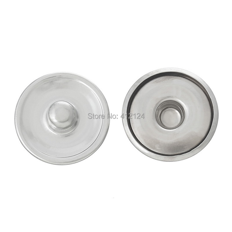 150 Pcs Snap Press Button Round Silver Tone Cabochon Setting DIY Jewelry Component 18mm( 6/8)