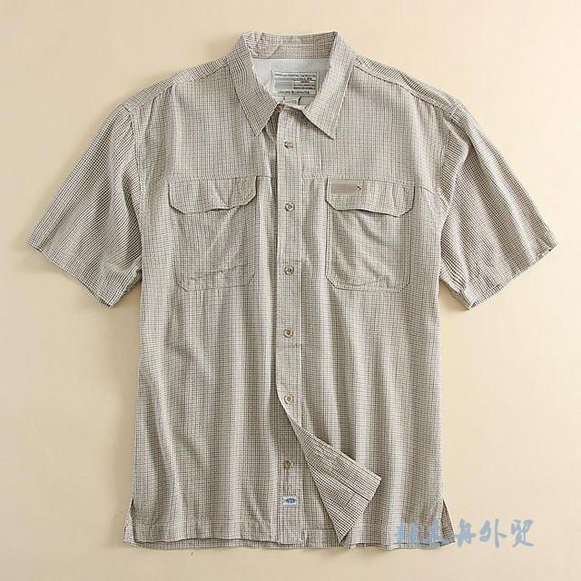 Promoção Big 2016 Homens Camisa Xadrez Marca Quick-seco Camisa Xadrez de Alta Qualidade Casual Manga Curta Top Além Disso EUA tamanho M-2XL