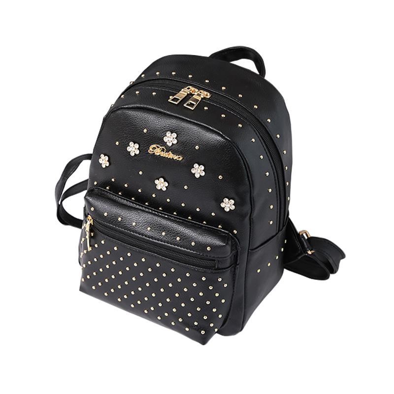 Popular Women Travel Backpack Fashion PU Leather Zipped Flowers Rivets Decoration Ladies Casual Shoulder Bag Girls School Bags just star brand design elf hardware casual pu women leather ladies girls backpack school travel shoulders bags