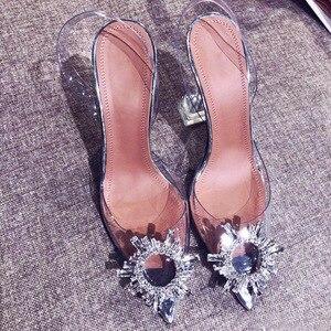 Image 5 - Peep Toe mujeres bombas verano transparente Pvc fiesta cristal zapatos tacones altos claro elegante señoras Sandalias mujer talla 34 40