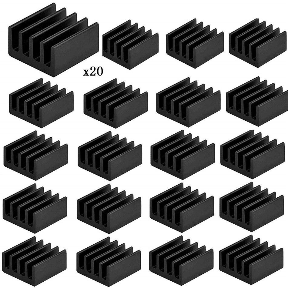 Tocawe con banda t/érmica para Raspberry Pi 2 20 unidades negro Pi 3 y Pi 4 Disipador de calor de aluminio
