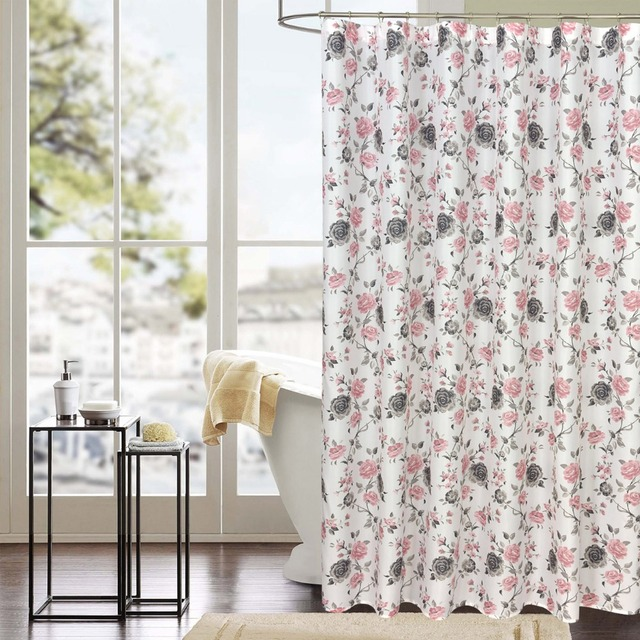 Pink Floral shower curtain for bathroom Eco friendly Waterproof ...