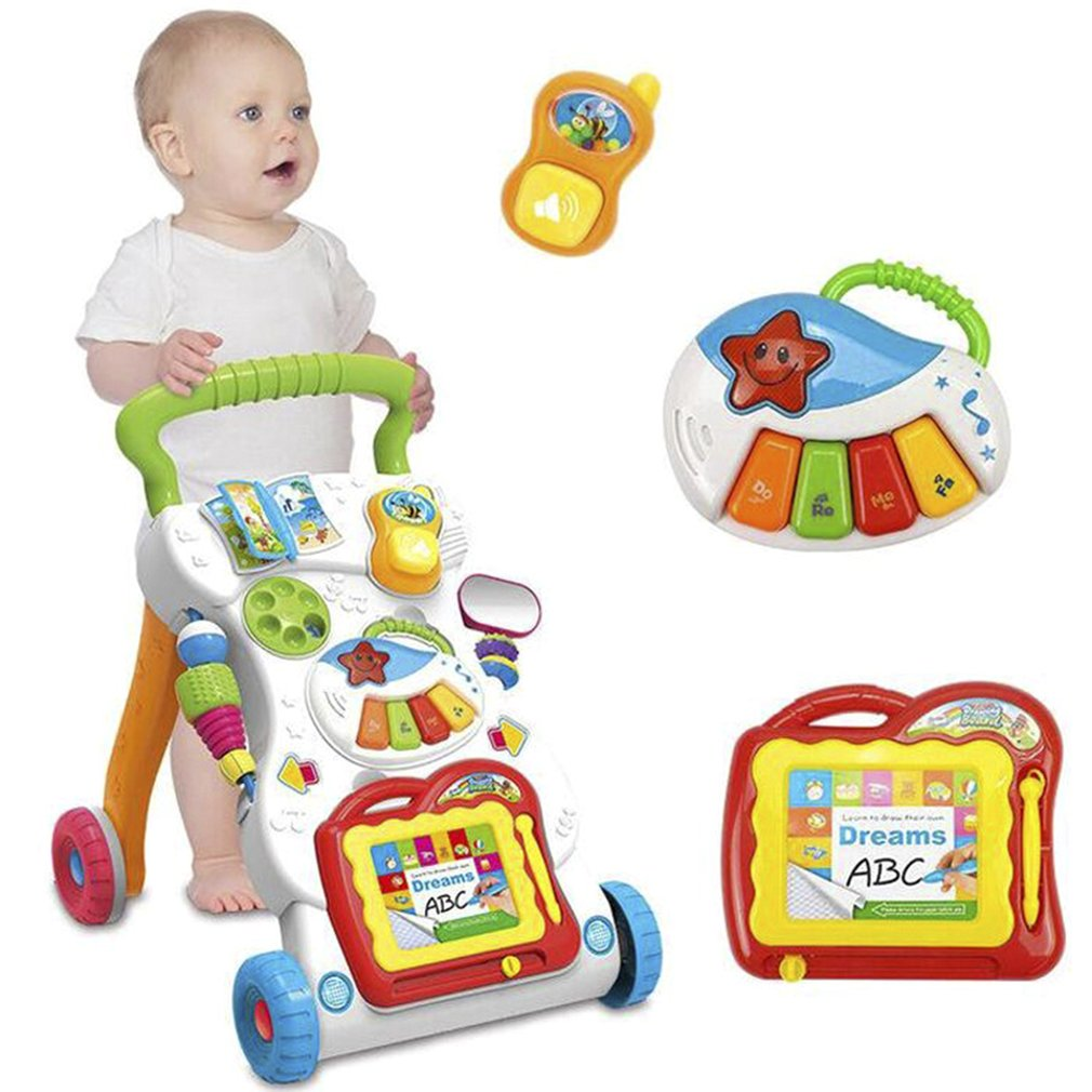 Baby Walker Baby første skridt Bil Toddler Trolley Sit-to-Stand Walker til Kid's Early Learning Uddannelsesmusik Justerbar H