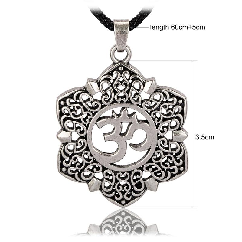 Open Filigree Lotus Flower Om Ohm Aum Symbol Pendant Necklace