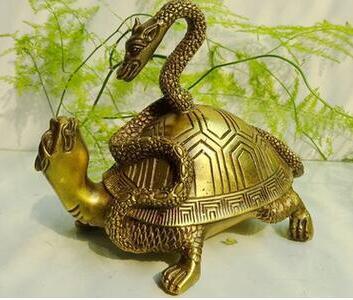 Serpent et tortue serpent dragon basalte cuivre ornement bureau hôtel maison géomantique bureau sculpture