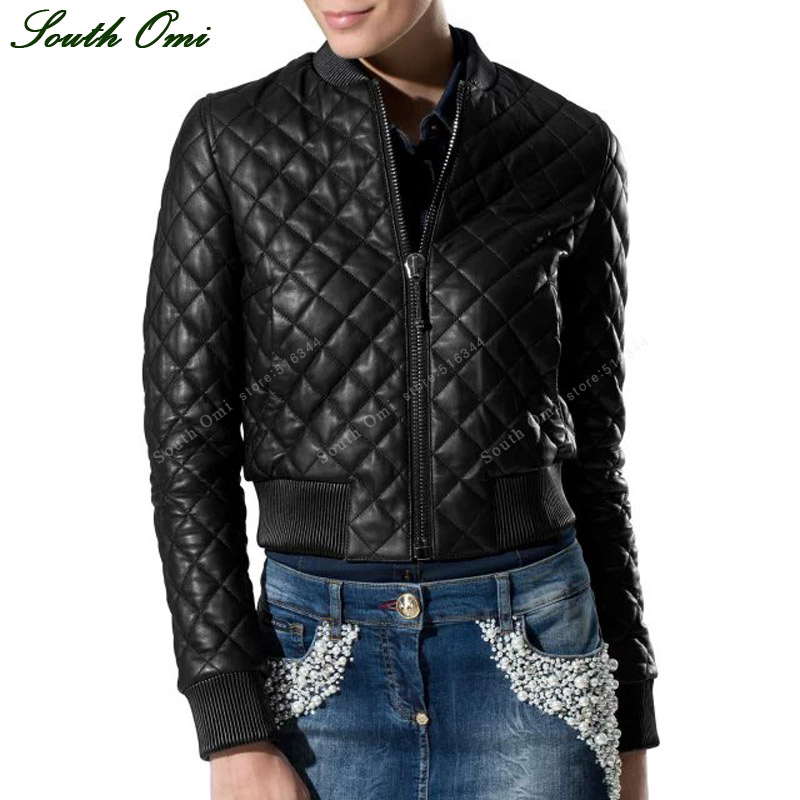 Aliexpress.com : Buy Women Quilted Leather Jacket Black Bomber ...