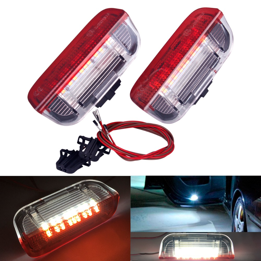 2PC Car LED Door Warning Light welcome Projector For VW Passat B6 B7 CC Golf 6 7 Jetta MK5 MK6 Tiguan Scirocco With Harness 1pcs car door plate warning lights for vw cc sharan touareg passat cc b6 b7 golf jetta mk5 mk6 seat alhambra 3ad 947 411