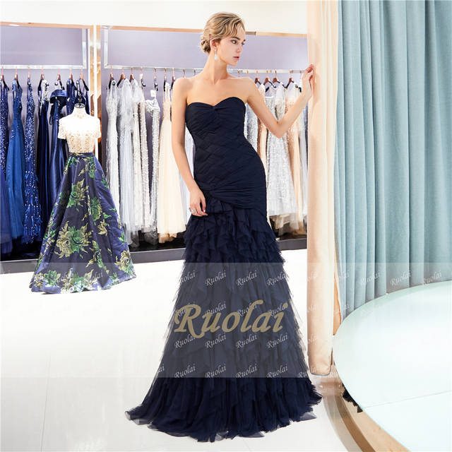 d0811755b8ef6 US $184.29 |Navy Mermaid Evening Dresses Long 2019 Sweetheart Prom Dresses  2019 Tulle Tiered Evening Gown Lace Up Back Vestido de Fiesta SQ5-in ...