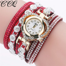 CCQ Brand Fashion Luxury Rhinestone Bracelet Watch Ladies Quartz Watch Casual Women Wrist Watch Relogio Feminino Gift C99