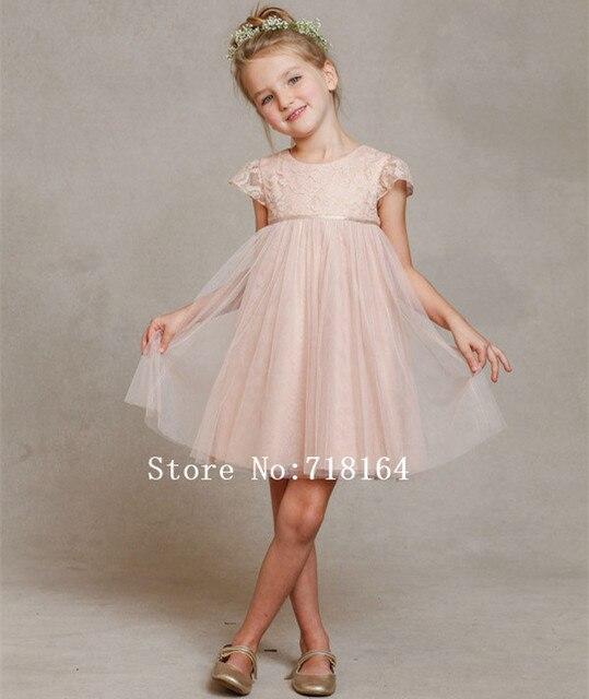 Blanco de marfil de encaje de color rosa niña vestido de flores para ...