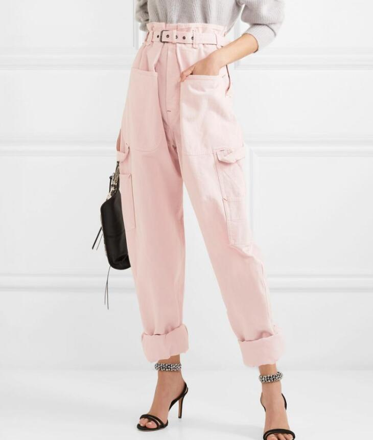 Woman Pink Inny Trousers High paperbag waist with Buckle Belt Big pockets Fashion Large cotton pants