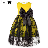 TEAEGG Kids Yellow Evening Ball Gown Double Layer Hood Lace Costume For Girls Party Birthday Sleeveless