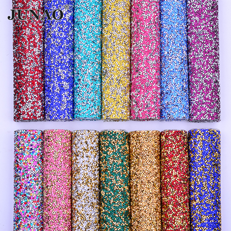 JUNAO 24 Color Hotfix Multicolor Rhinestone Mesh Fabrics Crystal Trim Ribbon Resin Strass Applique for Jewelry DIY Crafts