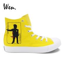 Wen Yellow Design Hand Painted Sneakers Poker Joker Custom Canvas High Top Shoes Women All-match Casual Plimsolls Men