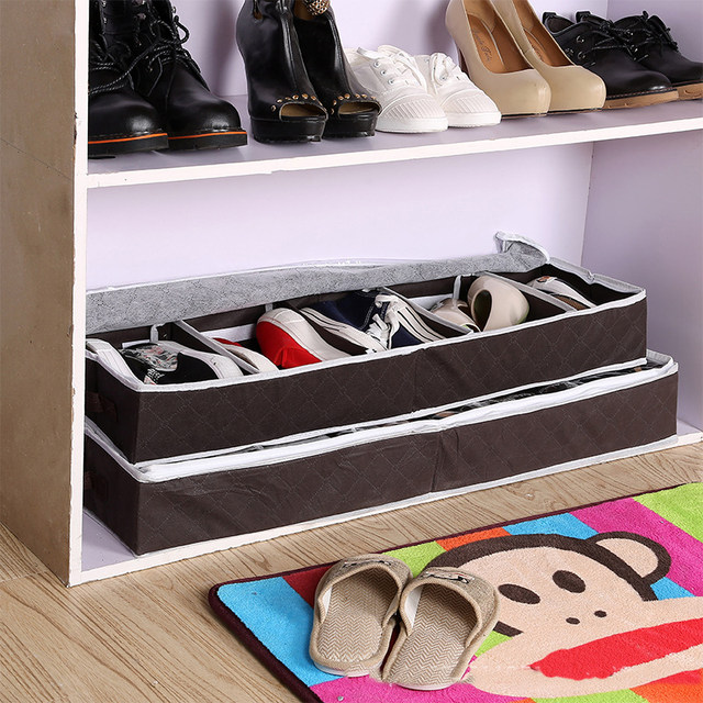 High Quality Multi Purpose Shoes Organizer Storage Shoe Case Coffee Bamboo  Charcoal Five Case Transparent Shoes Storage Box