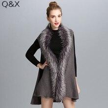 цена на SC118 2017 Fashion Shawl Solid Color Faux Fox Fur Knitted Vest Women Faux Fur Collar Cardigan Poncho Cape Sleeveless Sweater