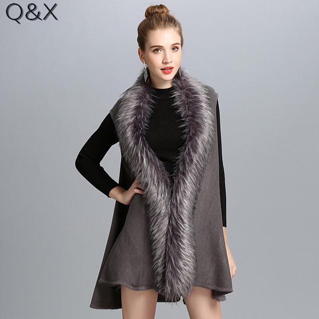 SC118 2017 Fashion Shawl Solid Color Faux Fox Fur Knitted Vest Women Faux Fur Collar Cardigan Poncho Cape Sleeveless Sweater