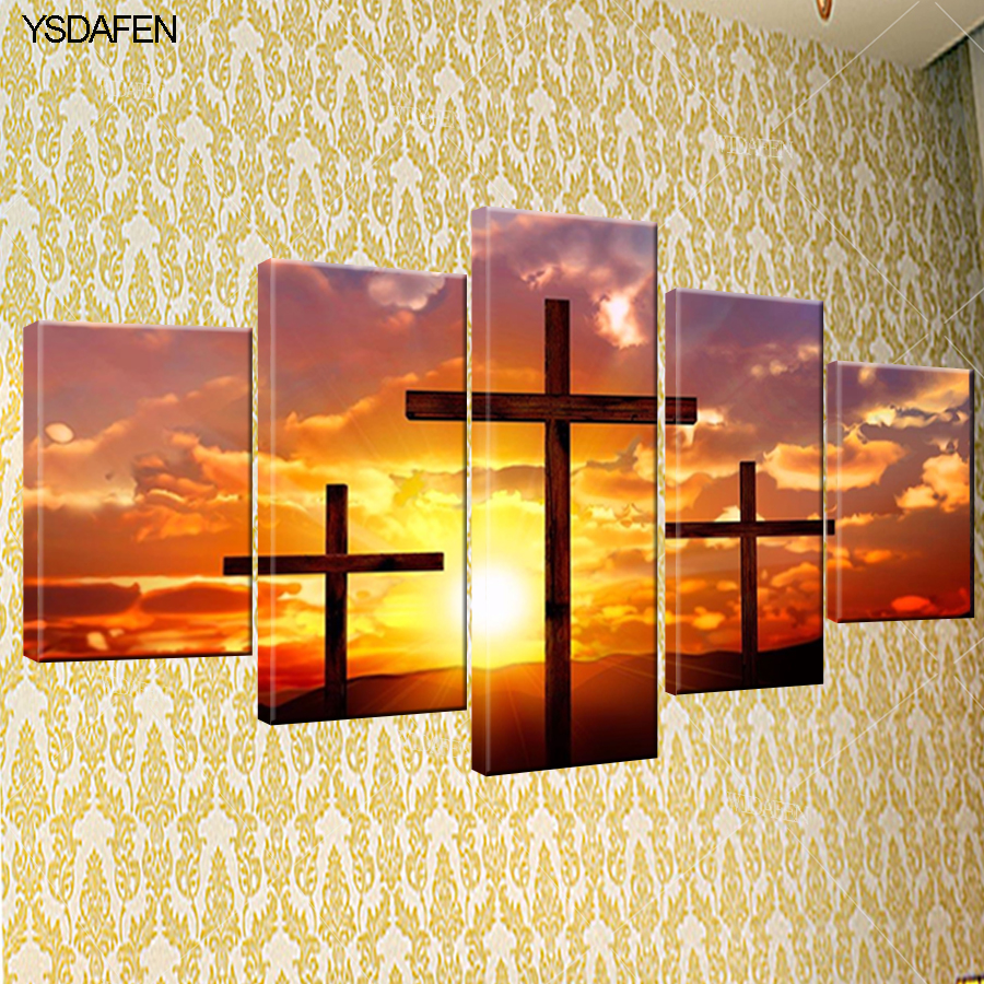 YSDAFEN 5 piece canvas art Christian cross painting HD Canvas ...