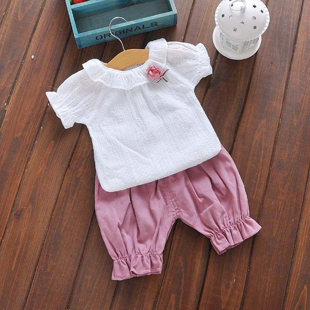 Double-Breasted Shorts Girls Sets Summer Baby Girls Clothes Cotton Baby's Sets Infant Out Fashion Short Sleeve Kids Clothes