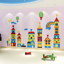 все цены на Cartoon Castle hot air balloon wall sticker for kids home decorative children room wall decals онлайн