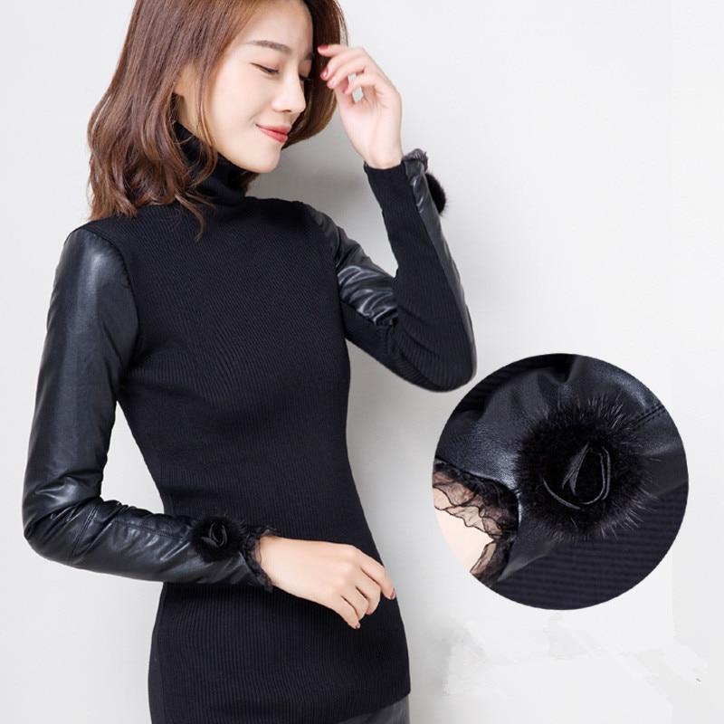 Winter Sweater Pullovers Good-Autumn Long-Sleeve Women Turtleneck Eiderdown Cotton NS104