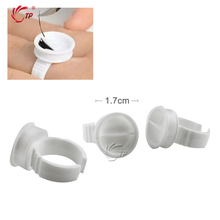 50Pcs/pack Disposable Plastic Art Tattoo Ink Cups Caps Adhesive Pigment Holder Glue Holder Eyelash Extension Rings Finger Hand