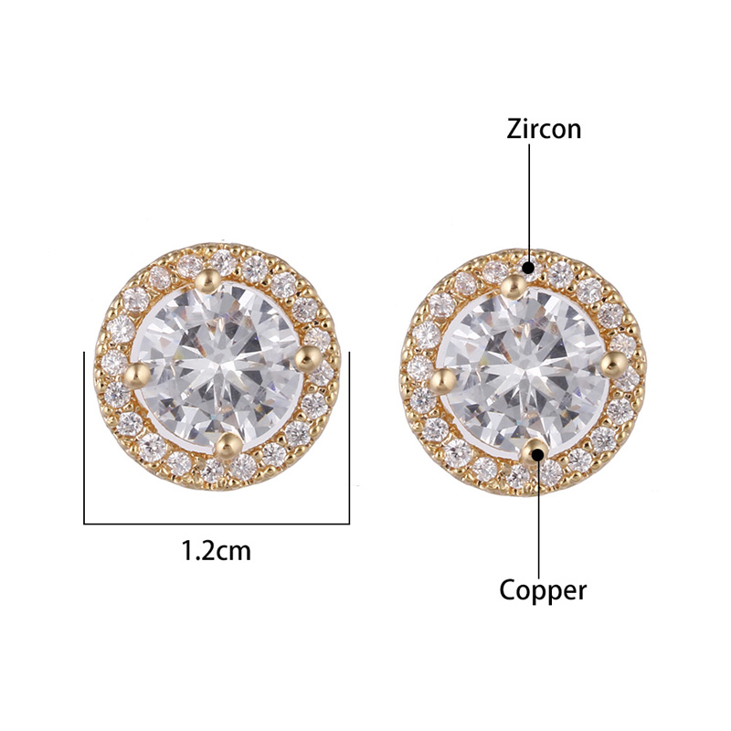 Top Quality Hearts & Arrows Zircon Stud Earrings CZ Stone Round Earrings Gold/Silver for Women Brincos Wedding Party Jewelry New
