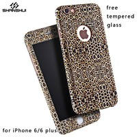 360 Full Body Protection Case For IPhone 6 6s Plus Free Tempered Glass Leopard Flower Print